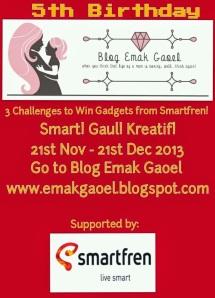Ikut challenge di lomba #UltahBlogEmakGaoel @windakrisnadefa deh bersama @smartfrenworld . Ikutan yuk! http://emakgaoel.blogspot.com/2013/11/lomba-blog-3-challenges-to-win-gadgets.html ….